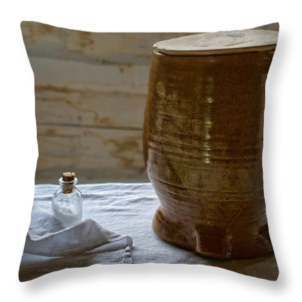 Butter Makers Crock And Salt Throw Pillow by Nikolyn McDonald
