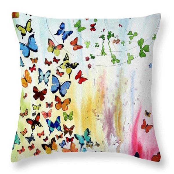Butterflies Throw Pillow by Tom Riggs