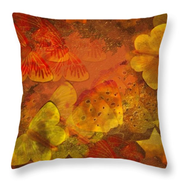 Butterfly Abstract 2 Throw Pillow by David Dehner