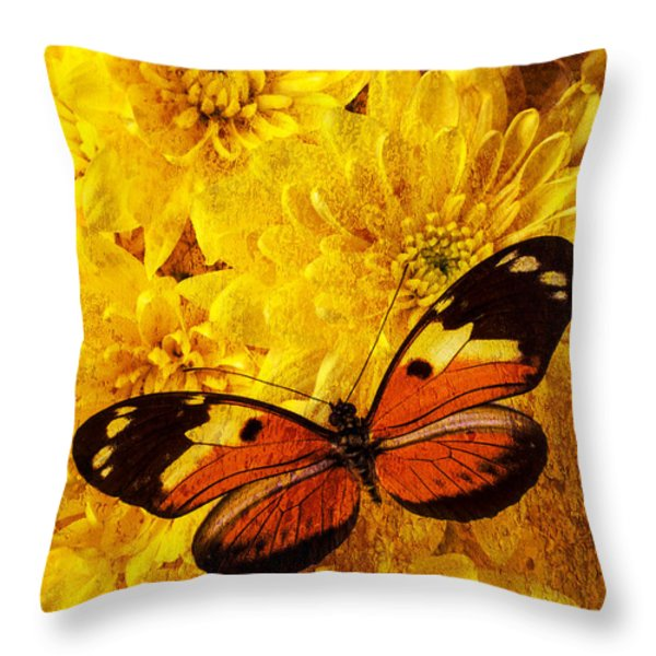 Butterfly Abstract Throw Pillow by Garry Gay