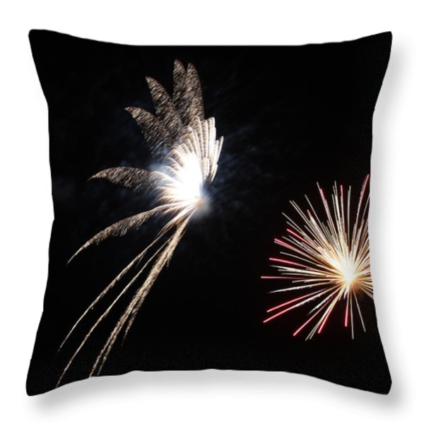 Butterfly and Flower Fireworks Throw Pillow by Howard Tenke