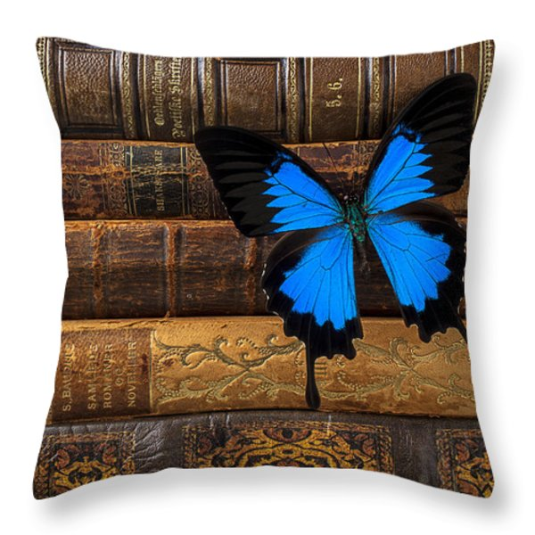 Butterfly And Old Books Throw Pillow by Garry Gay