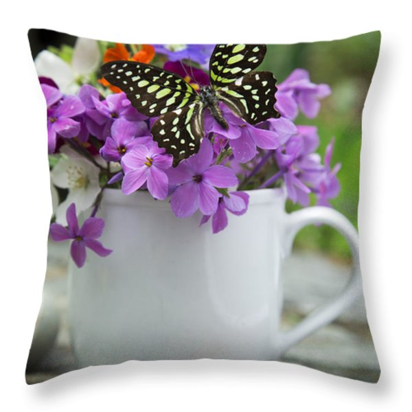 Butterfly And Wildflowers Throw Pillow by Edward Fielding