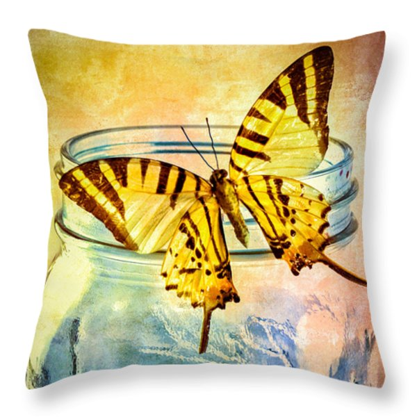 Butterfly Blue Glass Jar Throw Pillow by Bob Orsillo