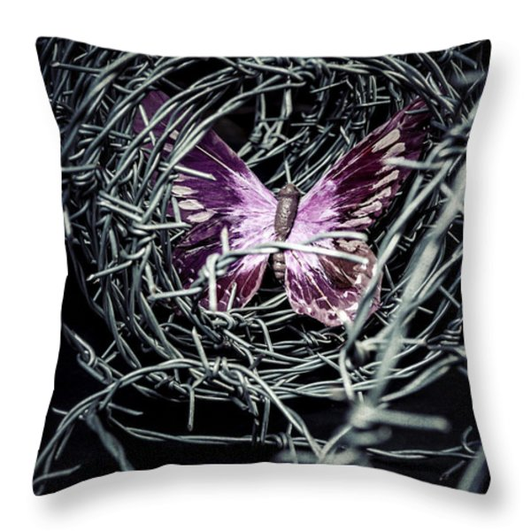 Butterfly Throw Pillow by Joana Kruse