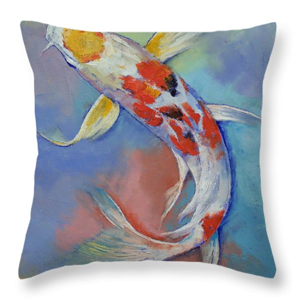 Butterfly Koi Fish Throw Pillow by Michael Creese