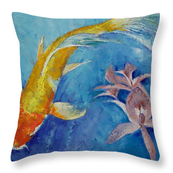 Butterfly Koi with Orchids Throw Pillow by Michael Creese