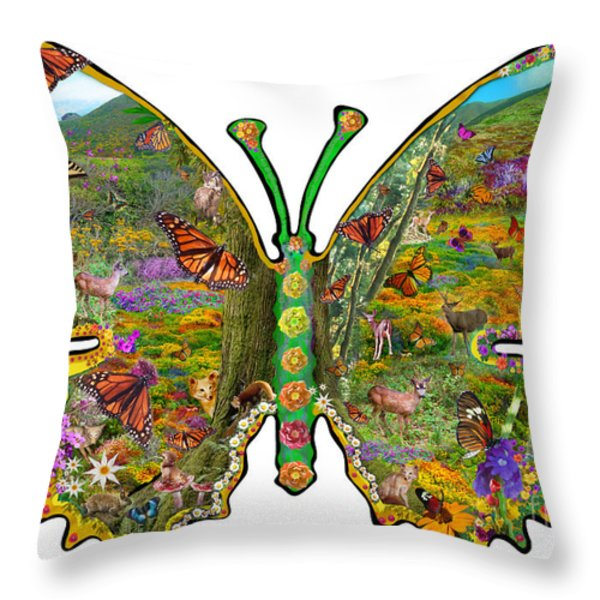 Butterfly Meadow Green Throw Pillow by Alixandra Mullins