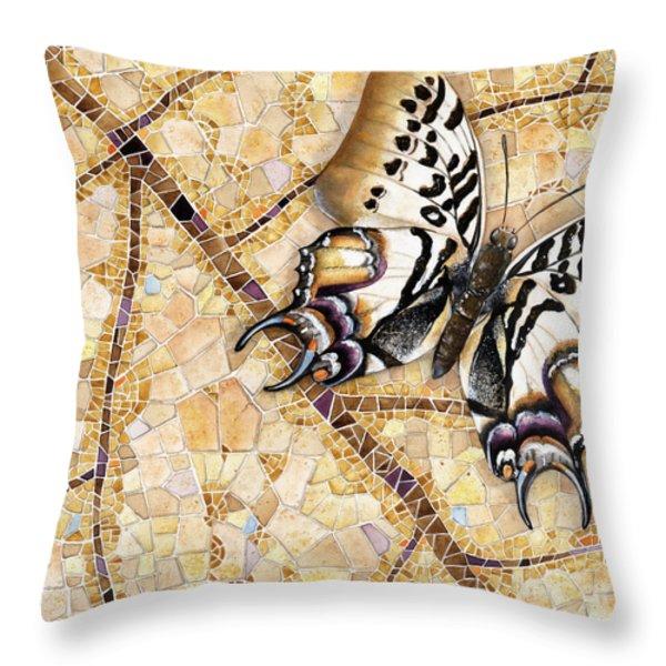 Butterfly Mosaic 01 Elena Yakubovich Throw Pillow by Elena Yakubovich