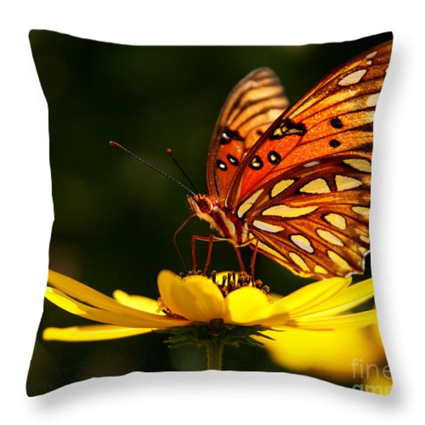 Butterfly On Flower Throw Pillow by Joan McCool