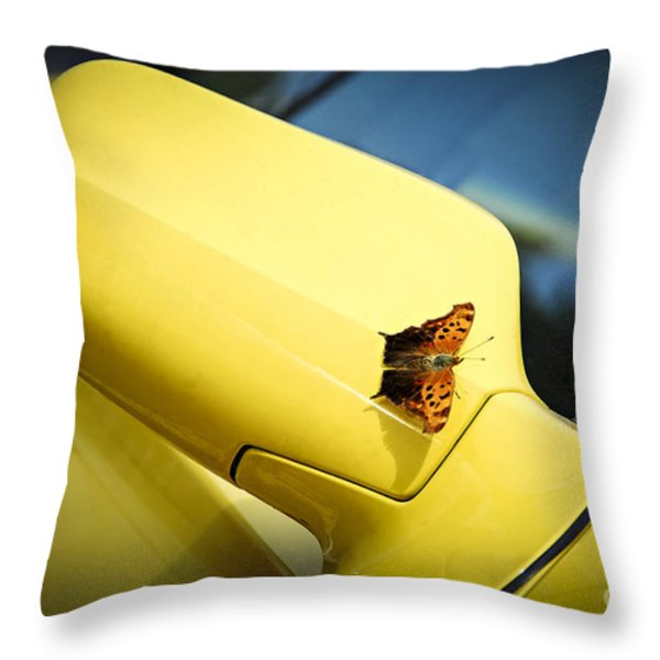 Butterfly On Sports Car Mirror Throw Pillow by Elena Elisseeva