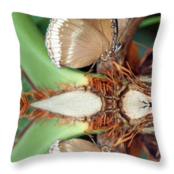 Butterfly Reflection Throw Pillow by Karen Adams