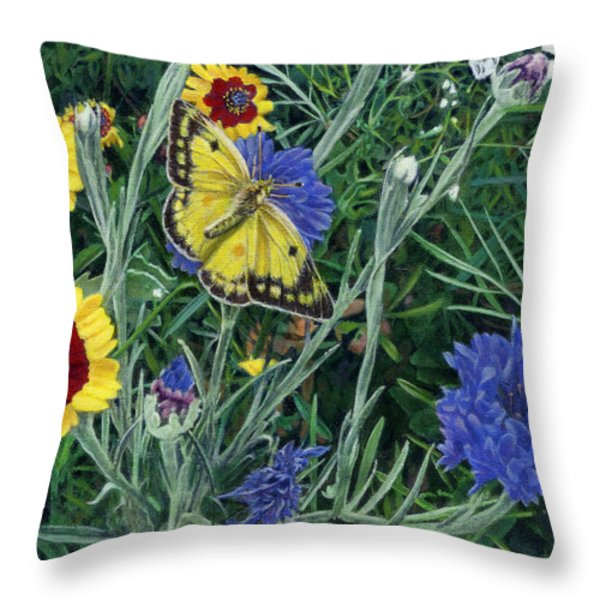 Butterfly Wildflowers spring time garden floral oil painting green yellow Throw Pillow by Walt Curlee