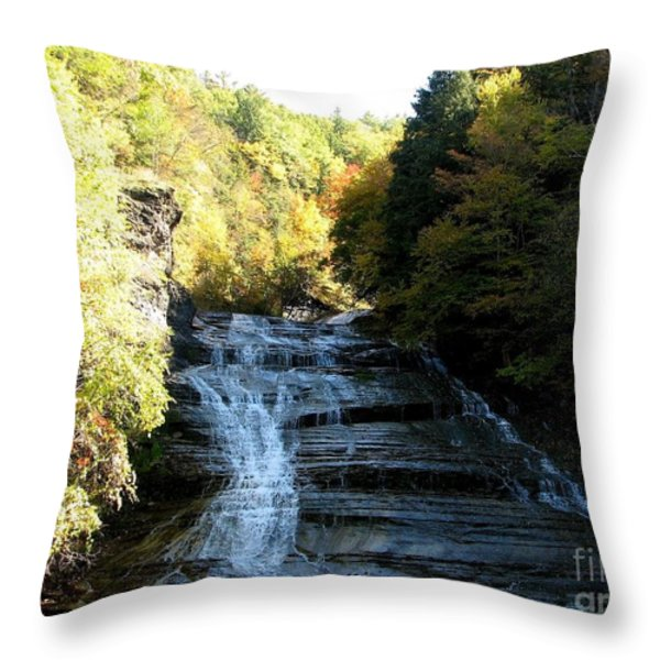 Buttermilk Falls Ithaca New York Throw Pillow by Rose Santuci-Sofranko