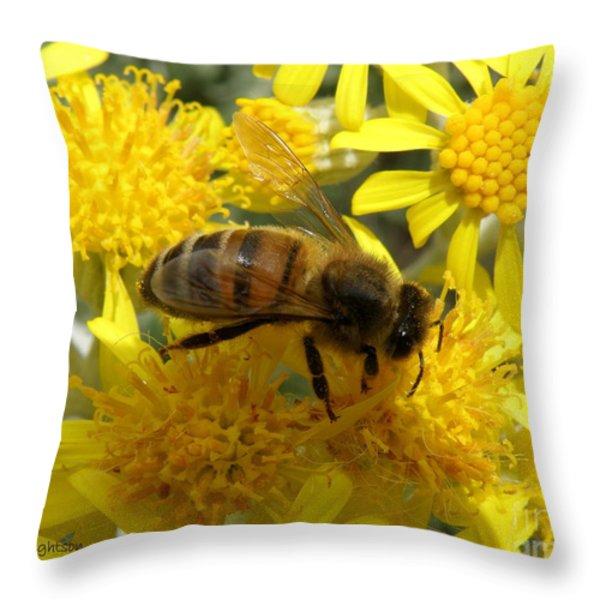 Buzzzzzy Throw Pillow by Lainie Wrightson