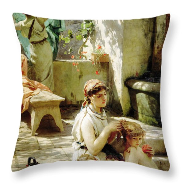 By A Pool 1 Throw Pillow by MotionAge Designs