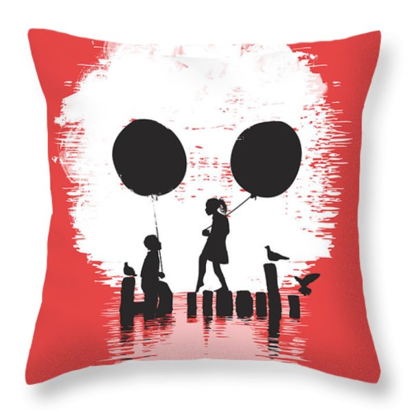 Bye Bye Apocalypse red Throw Pillow by Budi Satria Kwan