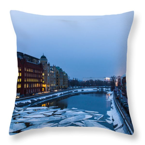Bypass Canal Of Moscow River - Featured 3 Throw Pillow by Alexander Senin