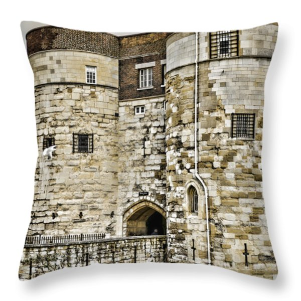 Byward Tower Throw Pillow by Heather Applegate