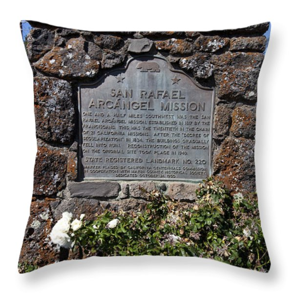 CA-220 San Rafael Arcangel Mission Throw Pillow by Jason O Watson