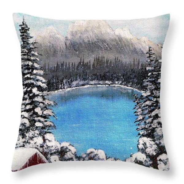 Cabin by the Lake - Winter Throw Pillow by Barbara Griffin
