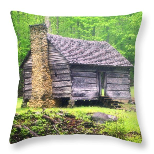 Cabin In The Smokies Throw Pillow by Marty Koch
