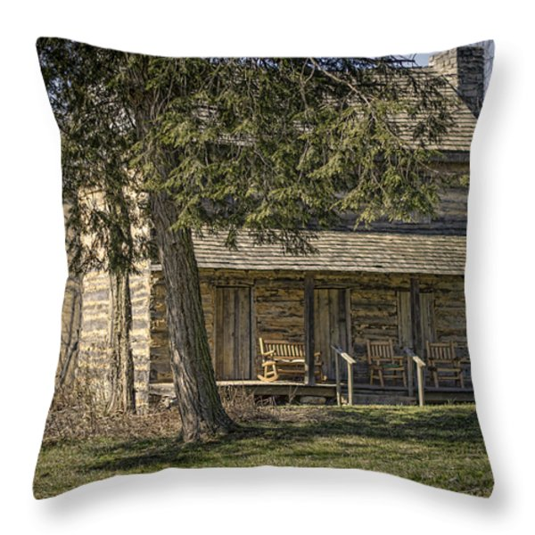 Cabin in the Wood Throw Pillow by Heather Applegate