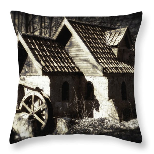 Cabin In The Woods Throw Pillow by Wim Lanclus