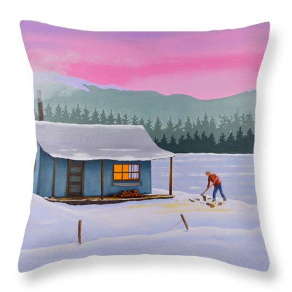 Cabin on a frozen lake Throw Pillow by Gary Giacomelli
