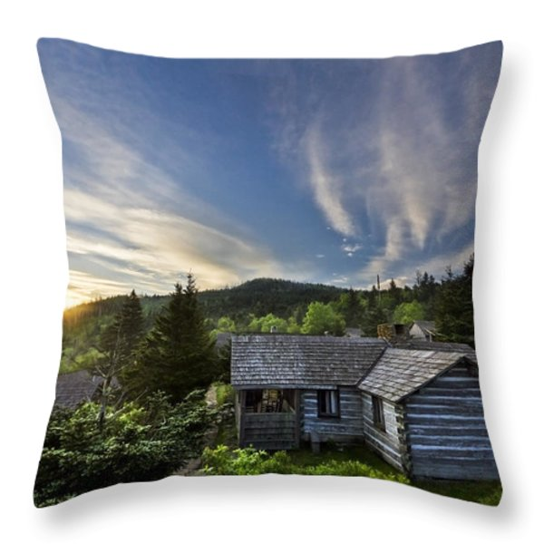 Cabins at Dawn Throw Pillow by Debra and Dave Vanderlaan