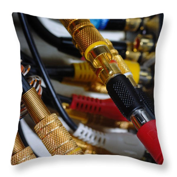 Cables And Wires Throw Pillow by Amy Cicconi