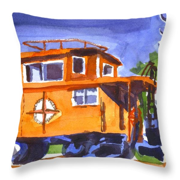 Caboose with Silver Signal Throw Pillow by Kip DeVore