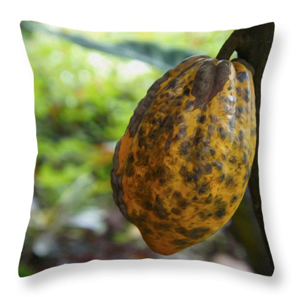 Cacao Plant Throw Pillow by Aged Pixel