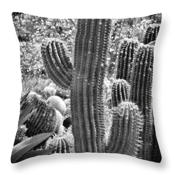 Cacti Habitat BW Throw Pillow by Kelley King