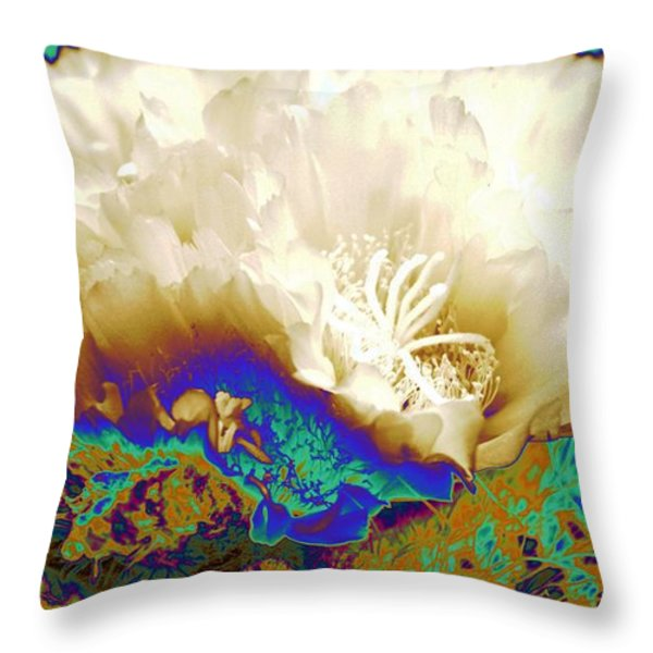 Cactus Moon Flower Throw Pillow by  Andrea Lazar