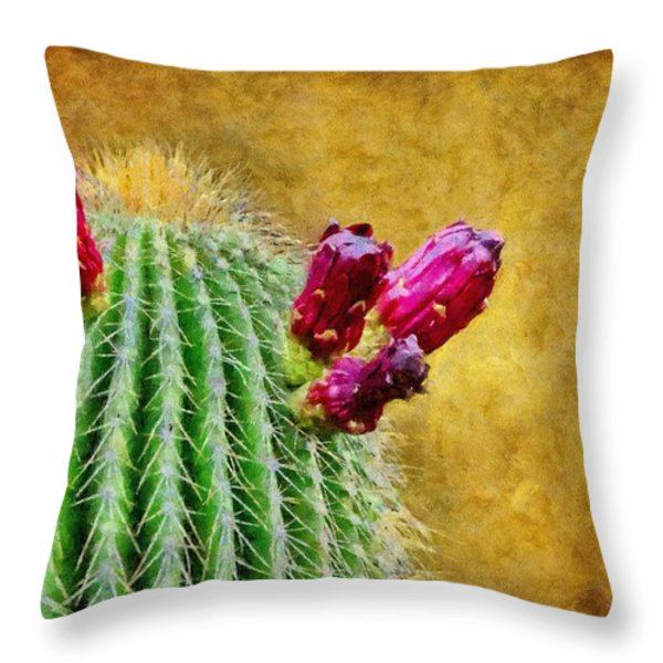 Cactus With Flowers Throw Pillow by Jeff Kolker
