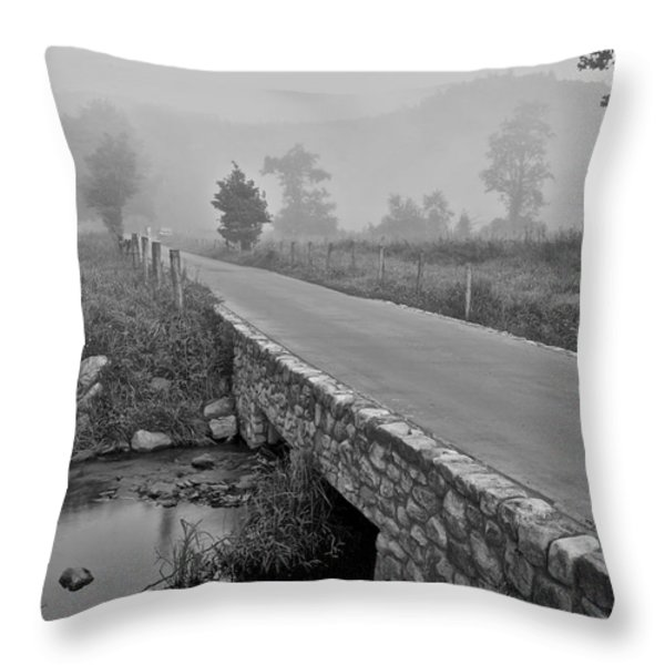 Cades Cove Black and White Throw Pillow by Frozen in Time Fine Art Photography