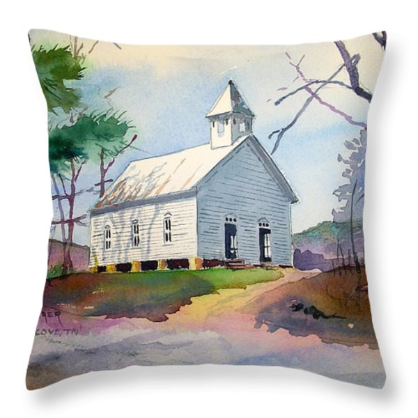 Cades Cove Church Throw Pillow by Spencer Meagher