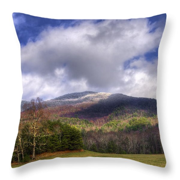 Cades Cove First Dusting Of Snow Throw Pillow by Debra and Dave Vanderlaan