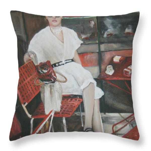 Cafe Budapest Throw Pillow by Vasiliki Yiakatou