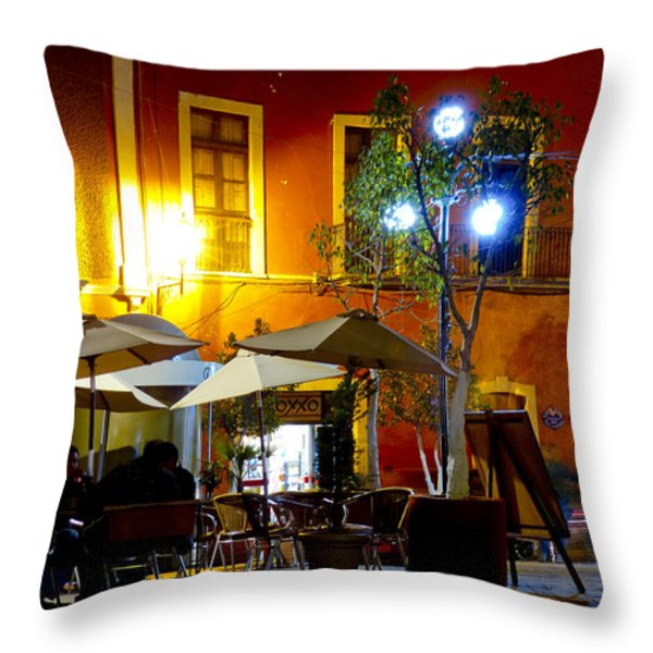 Cafe Evening Throw Pillow by Douglas J Fisher