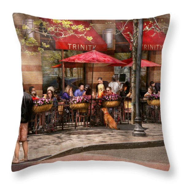 Cafe - Hoboken NJ - Cafe Trinity  Throw Pillow by Mike Savad
