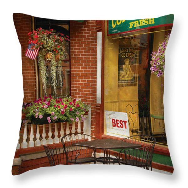 Cafe - The Best ice cream in Lancaster Throw Pillow by Mike Savad