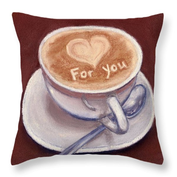 Caffe Latte Throw Pillow by Anastasiya Malakhova