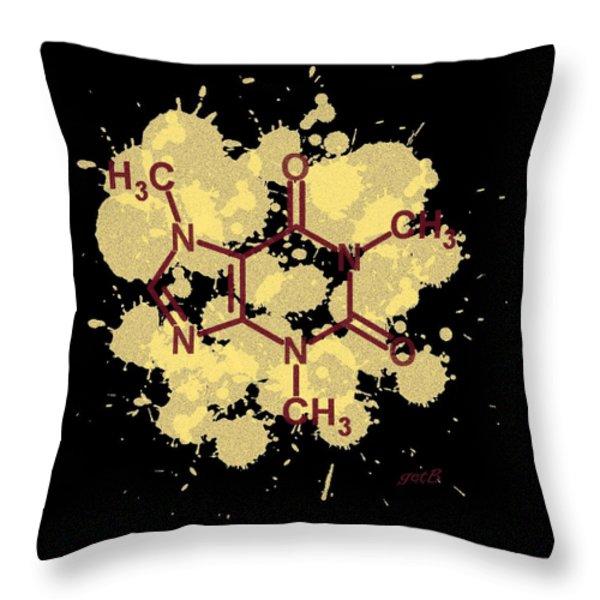 Caffeine Formula Digital Art Throw Pillow by Georgeta  Blanaru