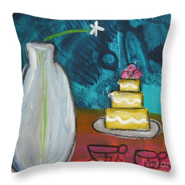 Cake And Tea For Two Throw Pillow by Linda Woods