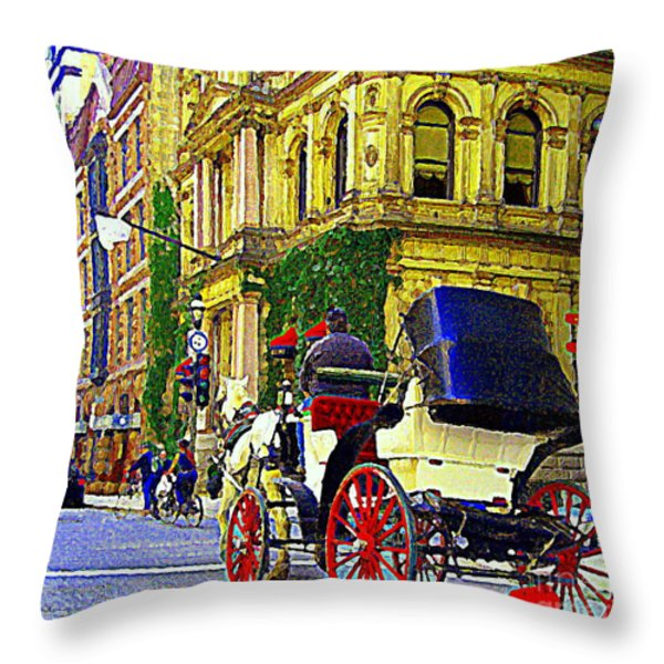 Caleche Ride By The Hotel Le St James Vieux Port Montreal Old World Charm And Elegance C Spandau Art Throw Pillow by Carole Spandau