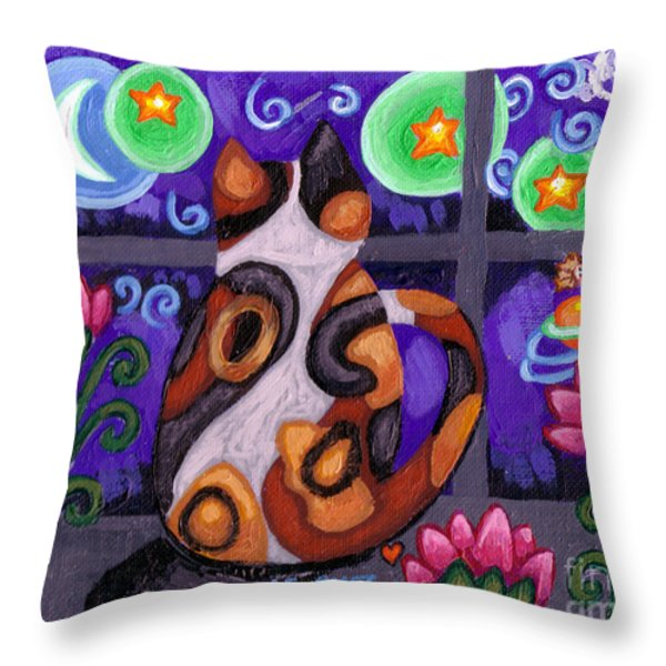 Calico Cat In Moonlight Throw Pillow by Genevieve Esson