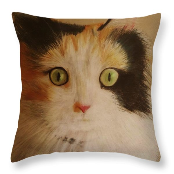 Calico Cat Throw Pillow by Savanna Paine