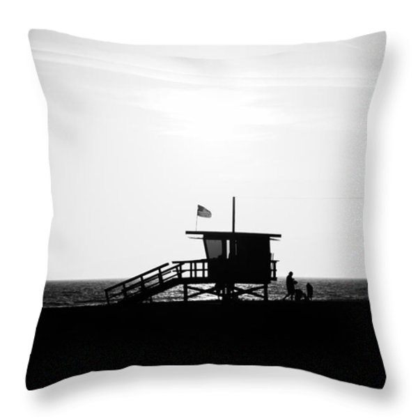 California Lifeguard Stand In Black And White Throw Pillow by Paul Velgos